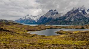 Salty lakes of Torres de Paine, Chile